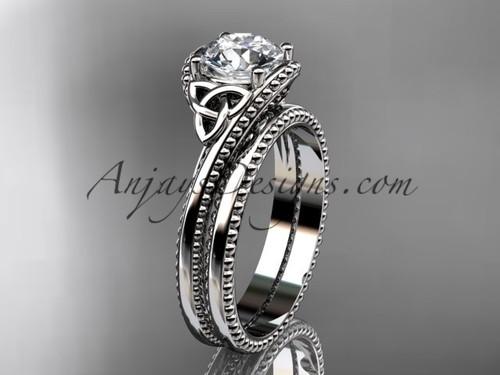 platinum celtic trinity knot wedding ring, engagement set CT7322S