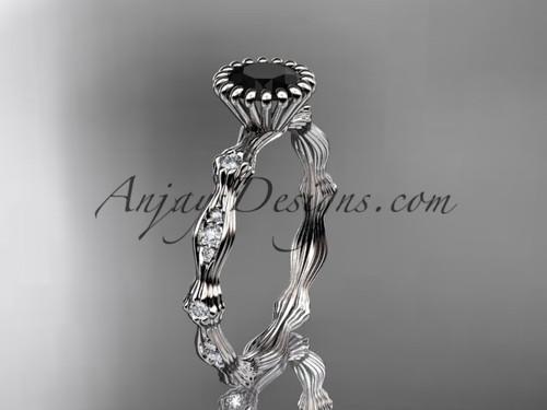 platinum diamond leaf wedding ring, engagement ring with Black Diamond center stone ADLR21
