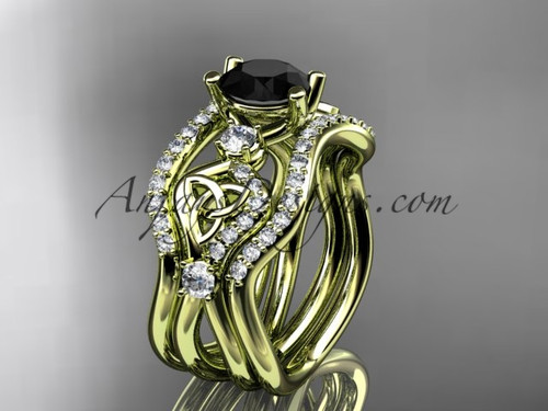 Celtic Bridal Set Yellow Gold  Black Diamond Ring CT768S