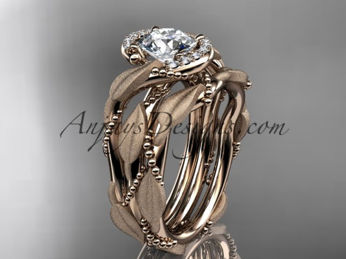 "14kt rose gold diamond leaf and vine wedding ring, engagement set with a ""Forever One"" Moissanite center stone ADLR65S"