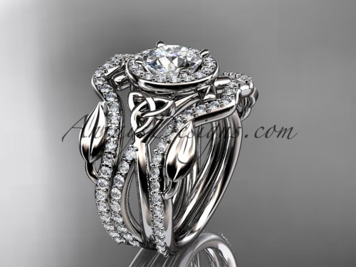 """14kt white gold celtic trinity knot engagement ring, wedding ring with a """"Forever One"""" Moissanite center stone and double matching band CT789S"""