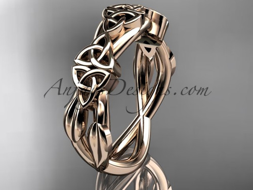 14kt rose gold celtic trinity knot wedding band, engagement  ring CT7204G
