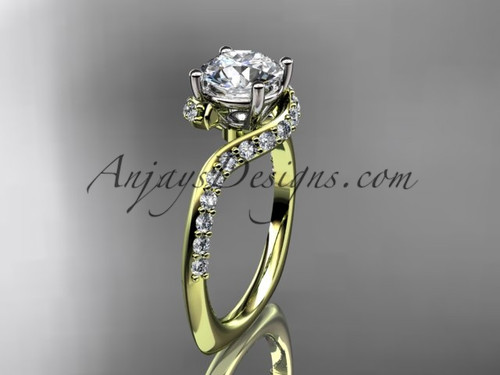 """Unique 14k yellow gold engagement ring, wedding ring with a """"Forever One"""" Moissanite center stone ADLR277"""
