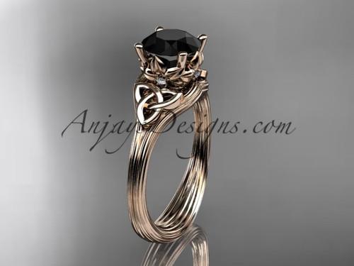 Black Diamond Wedding Ring  Rose Gold Celtic Ring CT7240