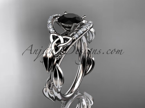 14kt white gold diamond celtic trinity knot wedding ring, engagement ring with a Black Diamond center stone CT7326