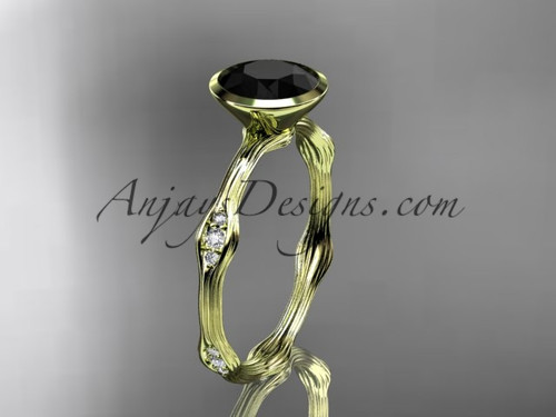 14k yellow gold diamond vine wedding ring, engagement ring with Black Diamond  center stone ADLR21A