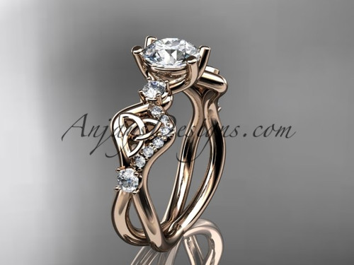 Triquetra Rings Rose Gold celtic Wedding Ring Ct7668
