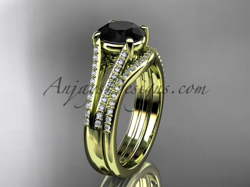 14kt yellow gold diamond unique engagement set, wedding ring with a  Black Diamond center stone ADER108S