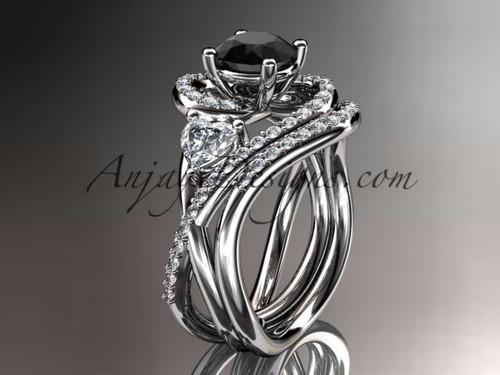 Unique 14kt white gold diamond engagement set, wedding ring with a Black Diamond  center stone ADLR320S