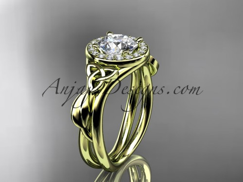 """14kt yellow gold diamond celtic trinity knot wedding ring, engagement ring with a """"Forever One"""" Moissanite center stone CT7314"""