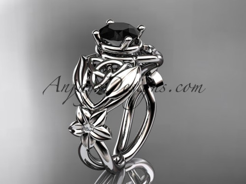 14kt white gold diamond celtic trinity knot  wedding ring, engagement ring with a Black Diamond center stone CT7501