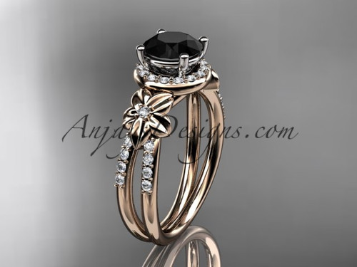 Black Diamond Wedding Rings, Rose Gold Flower Ring ADLR373