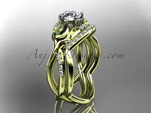"""Unique 14kt yellow gold diamond tulip flower, wedding set, leaf and vine engagement set with a """"Forever One"""" Moissanite center stone ADLR226"""