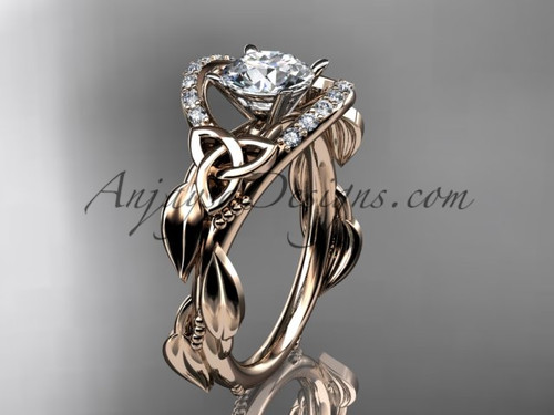 """14kt rose gold diamond celtic trinity knot wedding ring, engagement ring with a """"Forever One"""" Moissanite center stoneCT7326"""