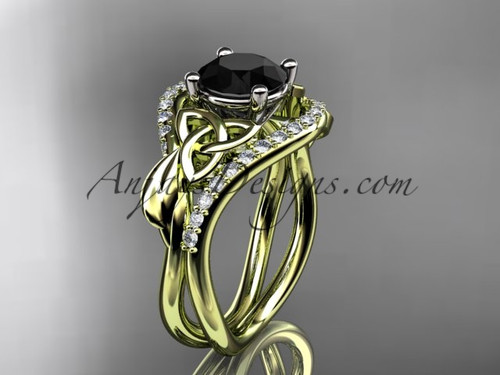 14kt yellow gold diamond celtic trinity knot wedding ring, engagement ring with a Black Diamond center stone CT7244