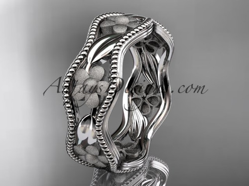platinum flower wedding ring,engagement ring, wedding band ADLR190G