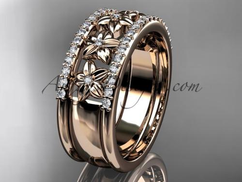 14kt rose gold engagement ring, flower wedding band ADLR516B