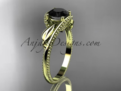 Unique 14kt yellow gold engagement ring with a Black Diamond center stone ADLR322