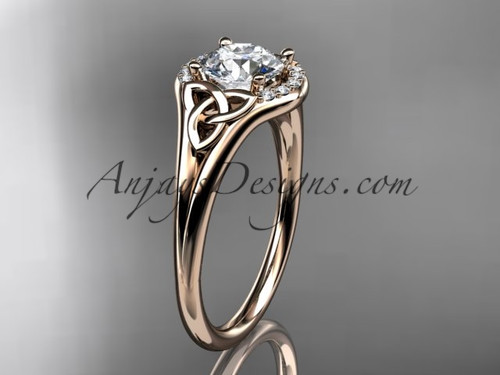 14kt rose gold celtic trinity knot engagement ring, wedding ring CT791