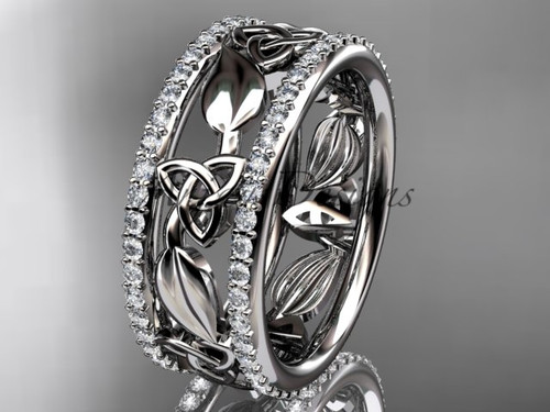 14kt white gold celtic trinity knot wedding band, diamond wedding band, engagement ring CT7233B