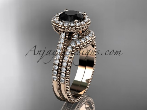 14kt rose gold diamond floral wedding set, engagement ring with a Black Diamond center stone ADLR101S
