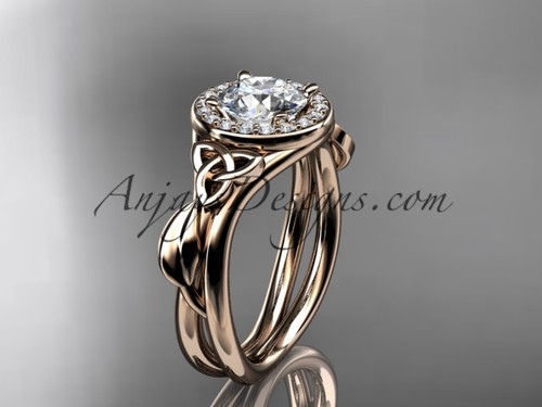"14kt rose gold diamond celtic trinity knot wedding ring, engagement ring with a ""Forever One"" Moissanite center stone CT7314"