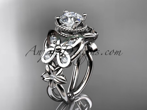 Moissanite Butterfly Engagement rings White Gold Flower Wedding Ring ADLR136