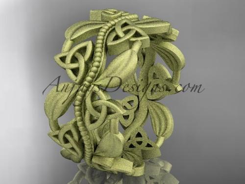 14kt yellow gold celtic trinity knot wedding band, matte finish wedding band, engagement ring CT7188G