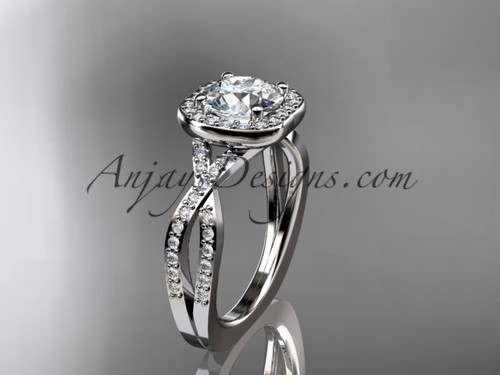 """14kt white gold wedding ring, engagement ring  with a """"Forever One"""" Moissanite center stone ADER393"""