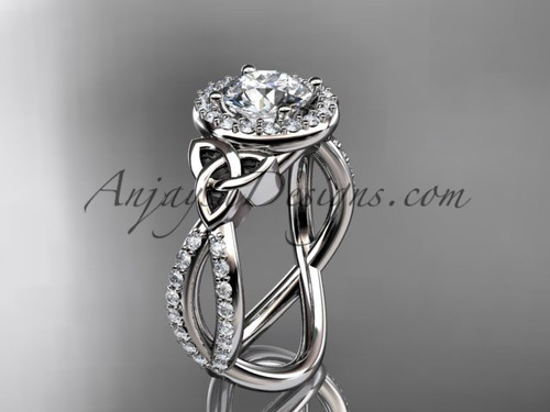 """14kt white gold diamond celtic trinity ring,  triquetra ring, Irish engagement ring with a """"Forever One"""" Moissanite center stone CT7374"""