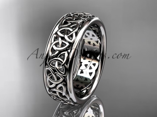 Celtic Bridal Ring, White Gold Irish Wedding Band CT7163G
