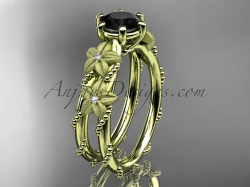 14kt yellow gold diamond floral, leaf and vine wedding ring, engagement ring with  Black Diamond center stone ADLR66