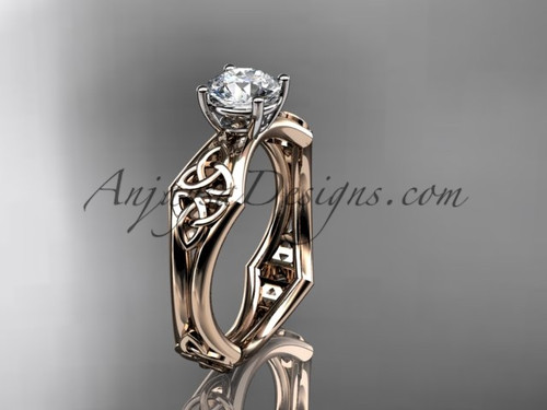 "14kt rose gold celtic trinity ring,  triquetra ring, engagement  ring with a ""Forever One"" Moissanite center stone CT7356"