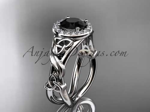 14kt white gold diamond celtic trinity knot wedding ring, engagement ring with a Black Diamond center stoneCT7302