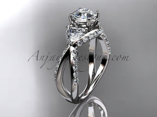 """Unique 14kt white gold diamond wedding ring, engagement ring with a """"Forever One"""" Moissanite center stone  ADLR318"""