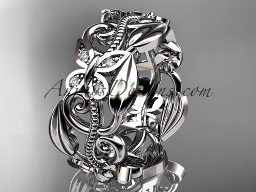 platinum leaf and vine, butterfly wedding ring,wedding band ADLR346B
