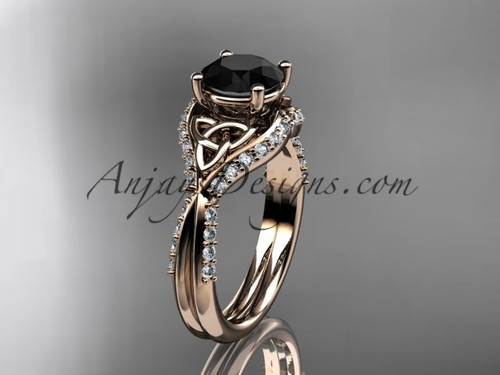 14kt rose gold diamond celtic trinity knot wedding ring, engagement ring with a Black Diamond center stone CT7224