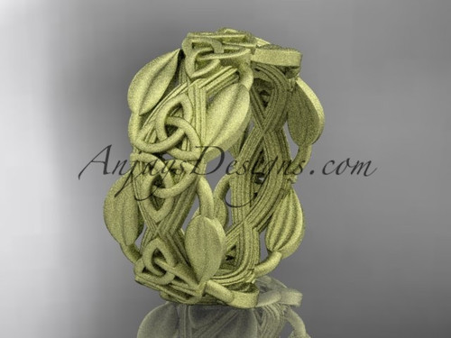Leaf Matte Wedding Band, Yellow Gold Celtic Ring CT7259B