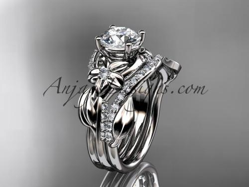 Unique platinum diamond flower, leaf and vine wedding ring, engagement set ADLR224S
