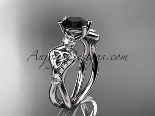 Black Stone Wedding Rings Platinum Celtic Rings CT768