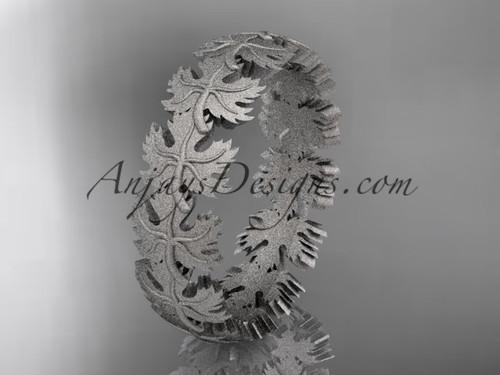 14kt white gold diamond maple leaf and vine wedding ring, engagement ring, wedding band ADLR40B