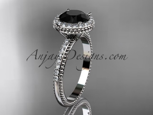 14kt white gold diamond unique engagement ring,  wedding ring with a Black Diamond center stone ADER95