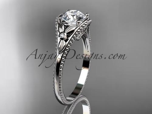 Platinum Flower Antique Engagement Rings ADLR377