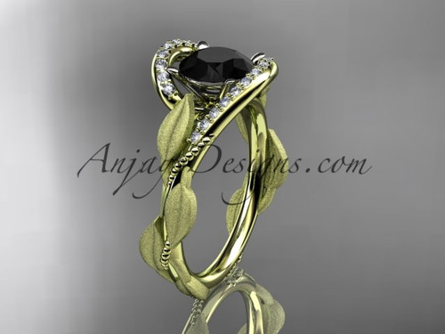 14kt yellow gold diamond leaf and vine wedding ring, engagement ring with Black Diamond center stone ADLR64