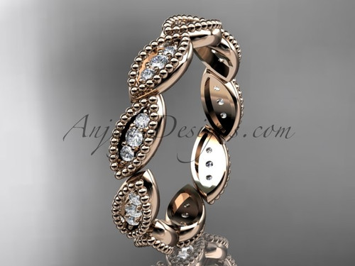 14kt rose gold diamond leaf wedding ring, nature inspired jewelry ADLR241