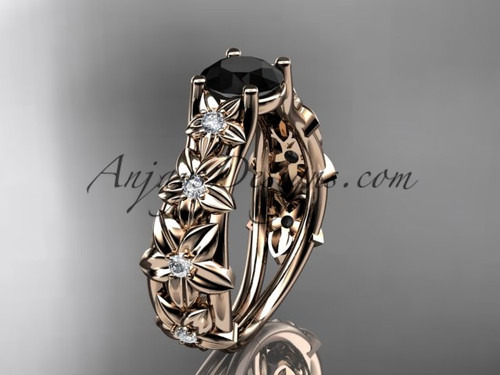 14kt rose gold diamond floral wedding ring, engagement ring with a Black Diamond center stone ADLR149