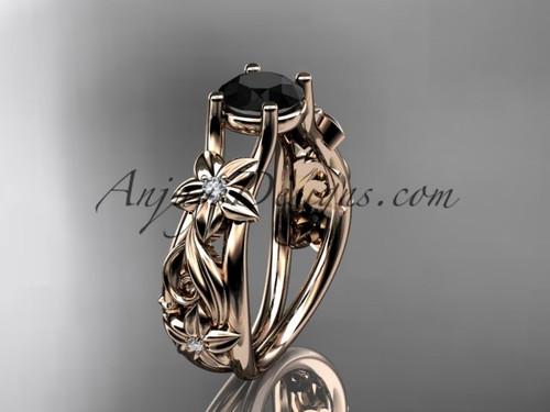 Flower Engagement Ring Rose Gold Black Diamond Ring ADLR216