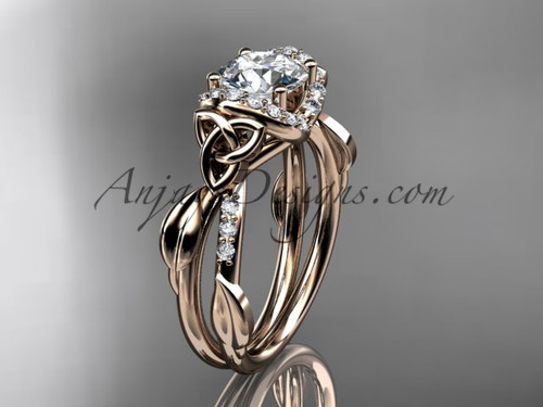"14kt rose gold diamond celtic trinity knot wedding ring, engagement ring with a ""Forever One"" Moissanite center stone CT7274"