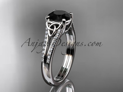 14kt white gold celtic trinity knot engagement ring ,diamond wedding ring with a Black Diamond center stone CT7108