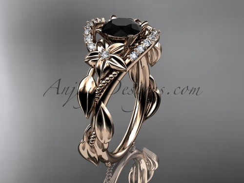 14kt rose gold diamond unique engagement ring, wedding ring with a Black Diamond center stone ADLR326